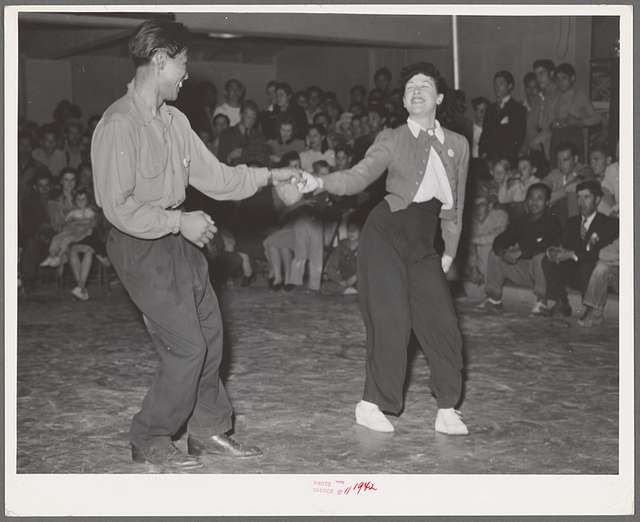 Jitterbug contest at the dance which closed the second annual field day at the FSA (Farm Security Administration) farm workers' community. Yuma, Arizona