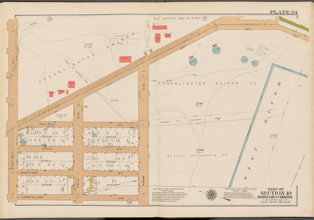 Double Page Plate No. 34, Part of Section 10, Borough of the Bronx: [Bounded by (Consolidated Edison Co.) Hunts Point Avenue, Farragut Street, East River, Ryawa Avenue, Longfellow Avenue and East Bay Avenue]