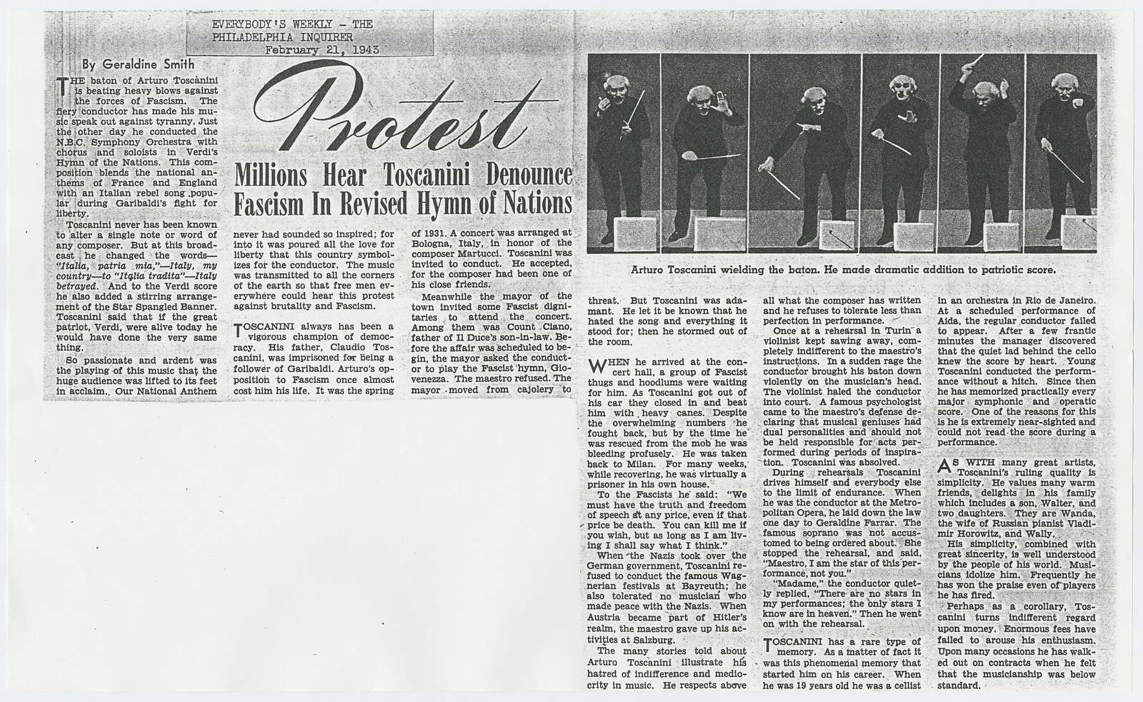 Newspaper review of Arturo Toscanini's Hymn of Nations