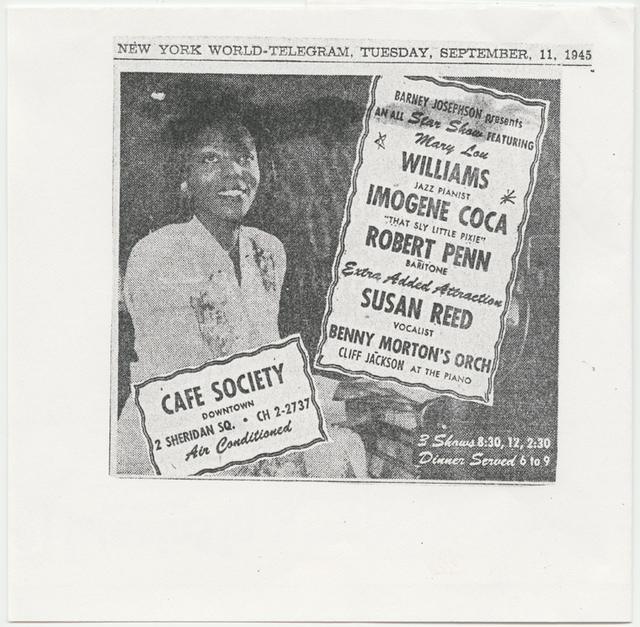 Newspaper advertisement for Café Society show featuring Mary Lou Williams.