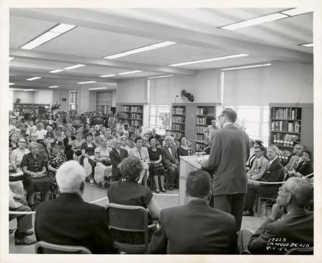 Inwood, Ceremony: Grace Conway (front row, 2nd from left), John Mackenzie Cory [?] at podium
