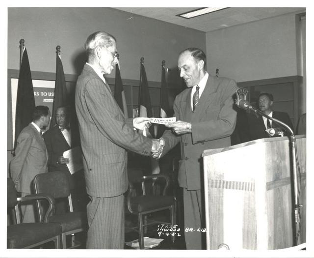 Inwood, Ceremony: Ralph A. Beals (left), Mr. Zurmuhlen, Commissioner of Public Works (right)