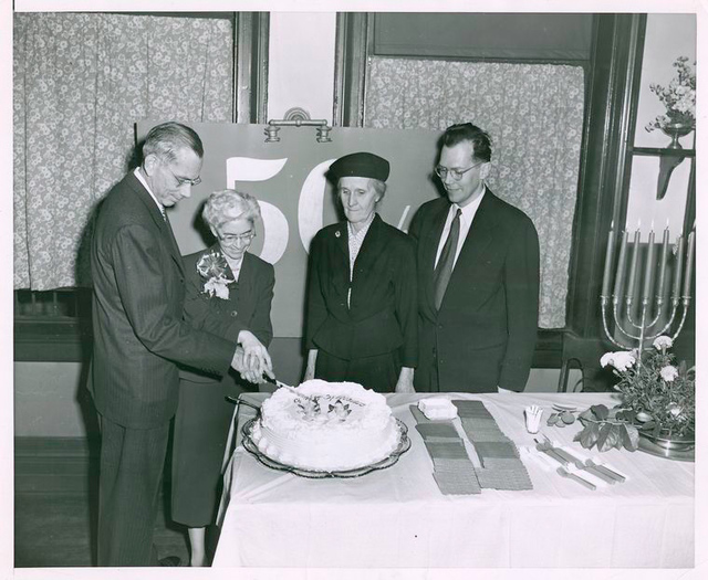 Chatham Square 50th Anniversary, 2nd Carnegie Branch Building: Ralph Allen Beals, Director; Marion E. Lang; Mrs. Alison B. Alessios; John Mackenzie Cory, Chief of Circulation