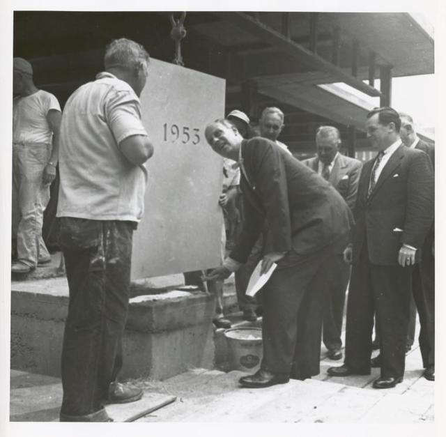 Mosholu cornerstone laying, Newbold Morris, Chairman, Circulation Committee[?], New York Public Library Trustees