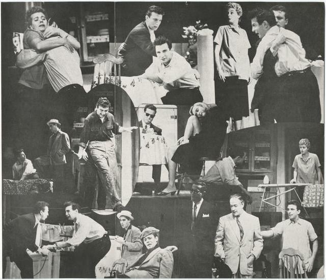 Collage of programme photographs of Anthony Franciosa, Ben Gazzara, Shelley Winters, Frank Silvera and others in scenes from the stage production A Hatful of Rain.