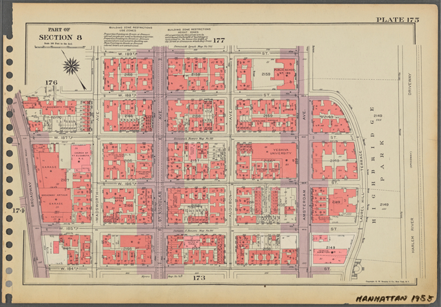 Plate 175, Part of Section 8: [Bounded by W. 189th Street, Amsterdam Avenue, (Highbridge Park, Harlem River Driveway) Laurel Hill Terrace, W. 184th Street and Broadway.]
