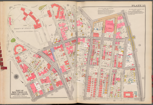 Double Page Plate No. 35, Part of Section 13, Borough of the Bronx: [Bounded by Spuyten Duyvil Parkway, W. 242nd Street, Irwin Avenue, W. 240th Street, Broadway, W. 234th Street, Riverdale Avenue, W. 235th Street, Johnson Avenue and Henry Hudson Parkway]