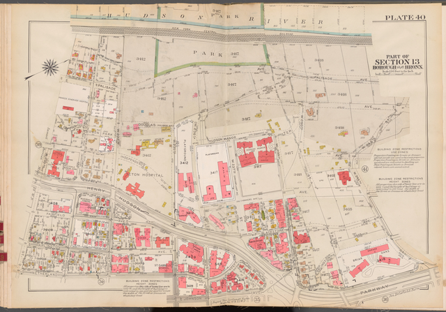 Double Page Plate No. 40, Part of Section 13, Borough of the Bronx: [Bounded by (Hudson River) Palisade Avenue, W. 246th Street, Henry Hudson Parkway, Johnson Avenue, W. 235th Street, Netherland Avenue and W. 230th Street]