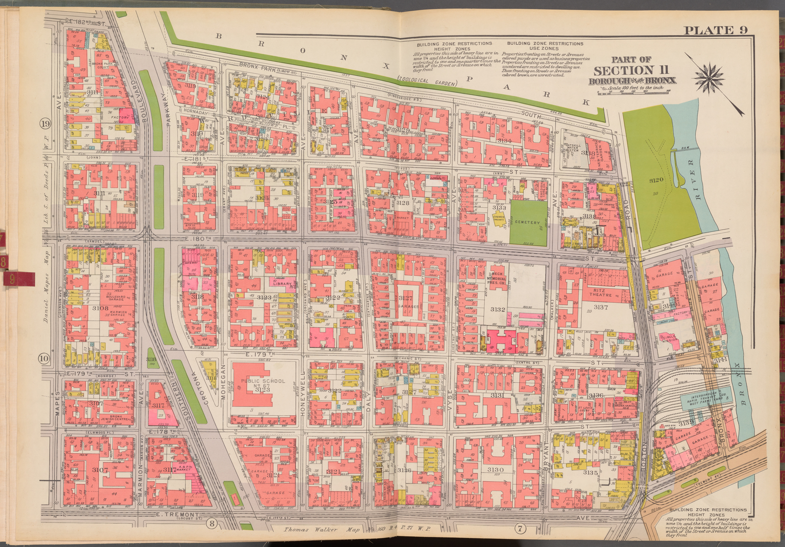 Double Page Plate No. 9, Part of Section 11, Borough of the Bronx: [Bounded by E. 182nd Street, Bronx Park South, Boston Road, E. 180th Street, (Bronx River) Bronx Street, E. Tremont Avenue and Mapes Avenue]