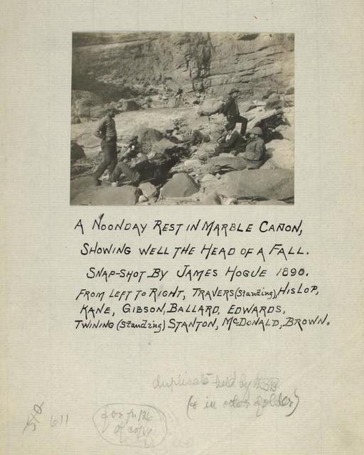 A noonday rest in Marble Cañon, showing well the head of a fall. Snapshot by James Hogue, 1890.