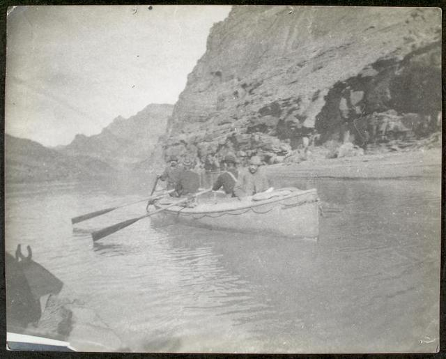 "Boat No. 1, the ""Bonnie Jean"" in the upper end of the Grand Canyon. Snapshot by James Hogue, 1890. McDonald, Gibson, Kane, Stanton."