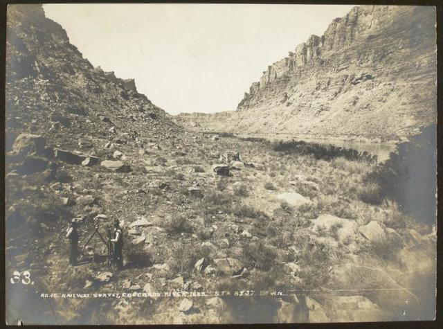 Broad bottom sands, Cataract Canyon. High water mark on left of picture.
