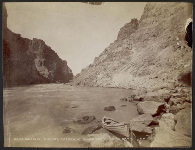 One of the little cedar boats in Cataract Canyon, looking upstream.