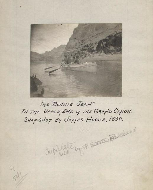 """The """"Bonnie Jean"""" in the upper end of the Grand Canyon. Snapshot by James Hogue, 1890."""