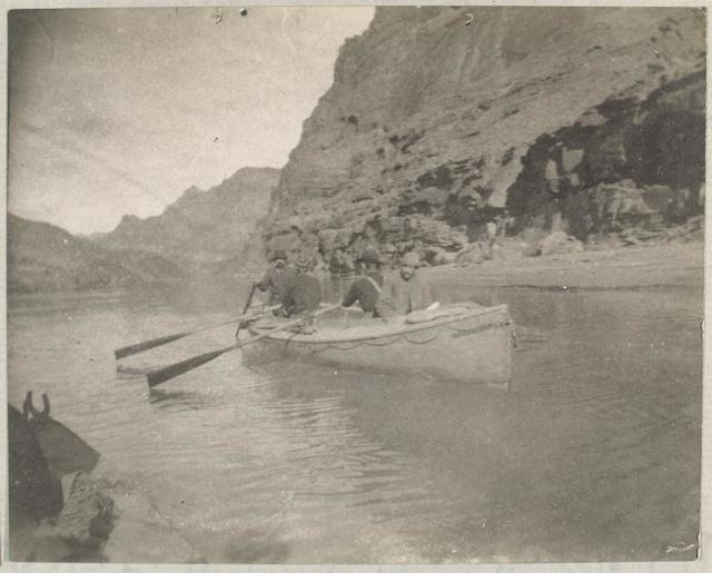 "[The ""Bonnie Jean"" in the upper end of the Grand Canyon. Snapshot by James Hogue, 1890.]"