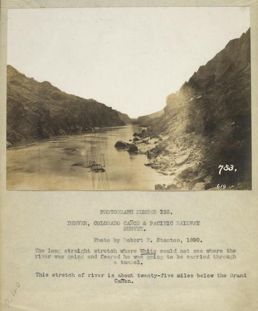 The long stretch where White could not see where the river was going and feared he was going to be carried through a tunnel. This stretch of river is about twenty-five miles below the Grand Cañon.