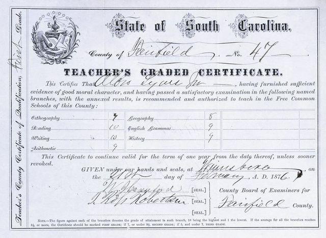 South Carolina Teacher's certificate for Albro Lyons, Jr.