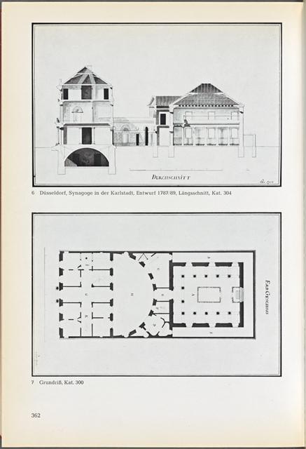 Düsseldorf, Synagoge in der Karlstadt, Entwurf 1787/89, Längsschnitt, Kat. 304; Grundriß, Kat. 300 Abb. 6 & 7