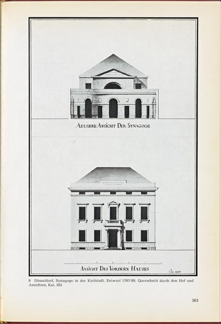 Düsseldorf, Synagoge in der Karlstadt, Entwurf 1787/89, Querschnitt durch den Hof und Ansichten, Kat. 303. Abb. 8
