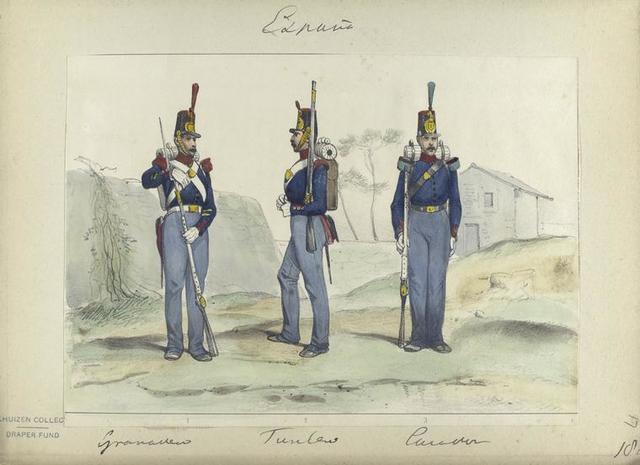 1. Granader,  2. Fusilero, 3. Cazador. 1848
