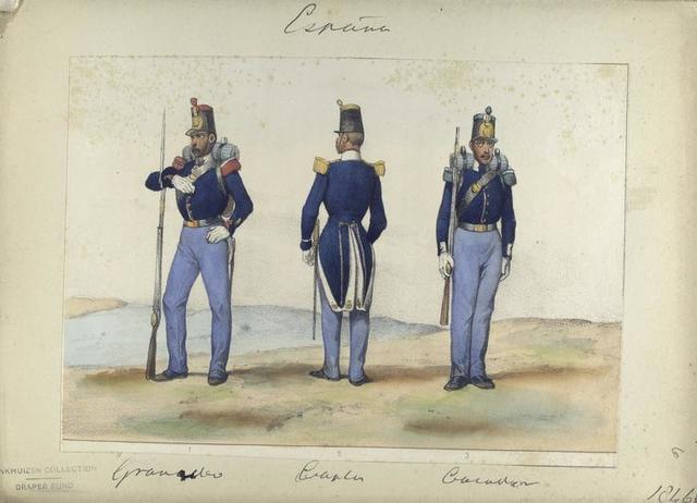 1. Granadero, 2. Capitan, 3. Cazador. 1846
