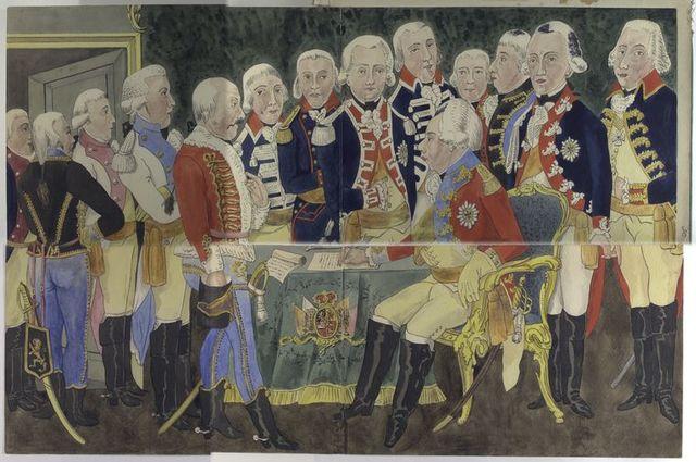 1. Prins Willem V (Gardes du Corps), 2. Erfprins (Hollandsche Gardes te voet), 3. Prins Frederik (Hollandsche Gardes te Paard), 4. Van Bylandt Dragonders, 5. Van Heeckeren Huzaren, 6. Hoeueft van Oyen Cavalerie, 7. Orange Friesland Cavalerie, 8. Timmerman