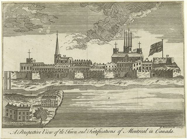 A perspective view of the town & fortifications of Montreal in Canada