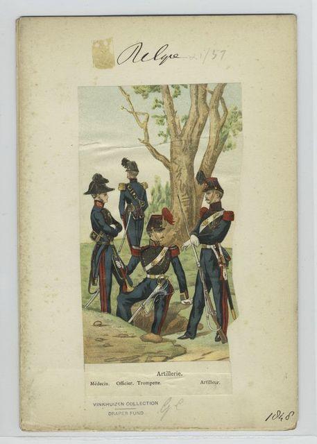 Artillerie : Médicin, officier, trompette, artilleur.