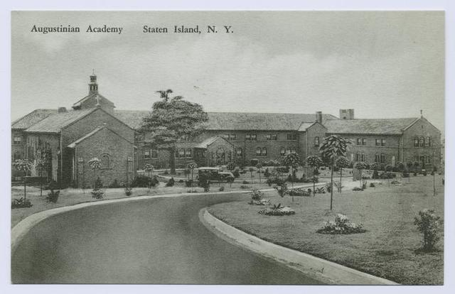Augustinian Academy, Staten Island, N.Y.  [old car parked in drive leading to main entrance]