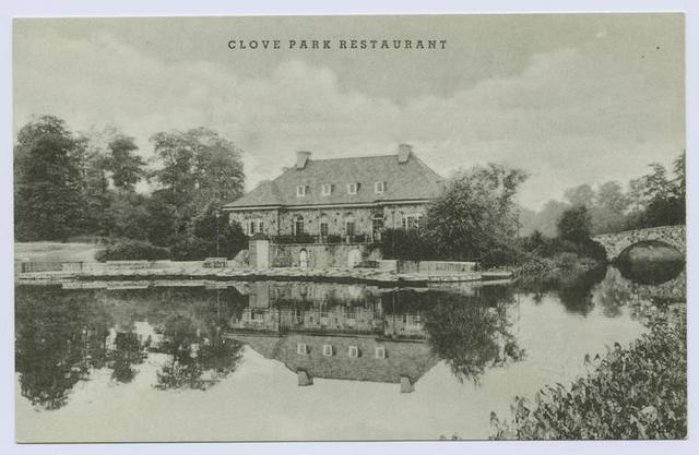 Clove Park(sic: usually Clove Lake Park) Restaurant [ext. reflected in lake, AD text on back]