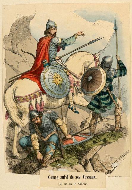Comte suivi de ses Vassaux : du 8 au 9 siècle.