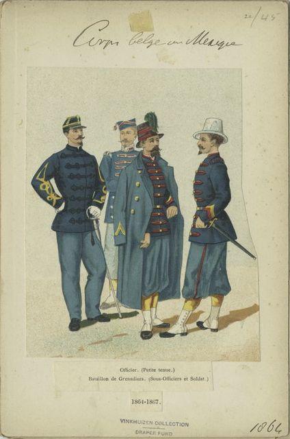Corps belge au Mexique. Officier (Petite tenue), Bataillon de Grenadiers (Sous-Officiers et Soldat.) 1864