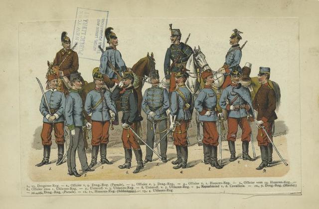 Dragoons, hussars, officers, uhlans, cavalry