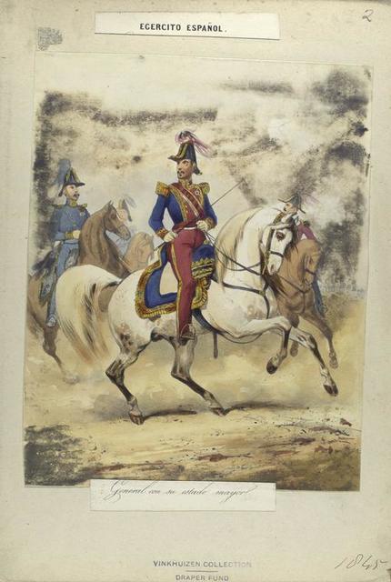 Egercito Español. General con su estado mayor. 1845