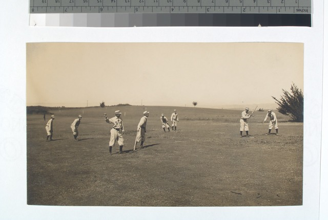Fig 7: Eight boys with a ball and four bats, playing Four Old Cat
