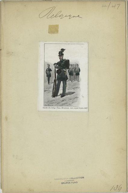 Garde civ. Belge. Chas-Eclaireur. Arr. Royal 15 juin 1867.