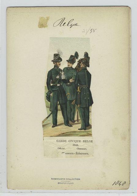 Garde civique belge, 1848. Officier, chasseurs ; Chasseurs -éclaireurs.