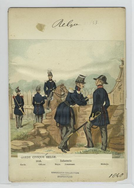 Garde civique belge. Infanterie : Garde, officier, major, lieutenant, médicin.