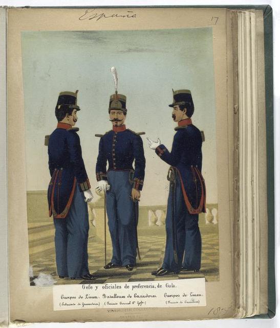 Gefe y oficiales de preferencia, de Gala: Cuerpos de Linea (Subteniente de Granaderos), Batallones de Cazadores (Teniente Coronel 1-o Gefe), Cuerpos de Linea (Teniente de Cazadores).