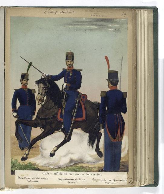 Gefe y oficiales en funcion del servicio: Batallones de Cazadores (Subteniente), Regimientos de Linea (Coronel), Regimiento de Granaderos (Capitan).