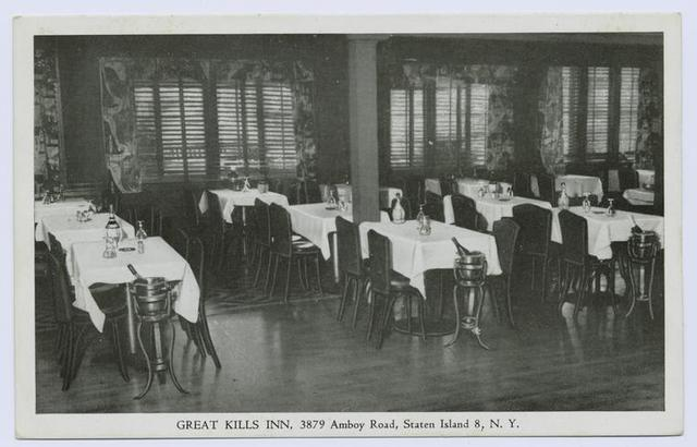 Great Kills Inn, 3879 Amboy Road, Staten Island 8, N.Y. [int. of dining room, AD text on back]