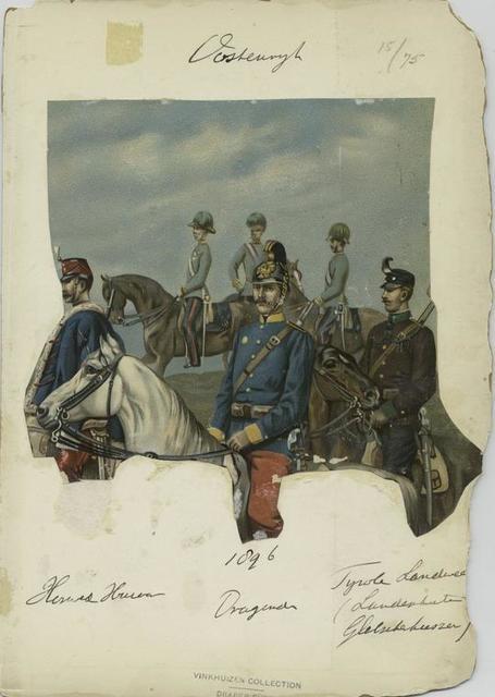 Honved Hussar, Dragoner, Tyrole Landwe[...] (Landenhute[...] Glelschehussar [?], 1896