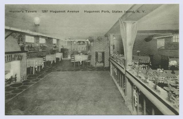Hunter's Tavern, 1297 Huguenot Avenue, Huguenot Park, Staten Island, N.Y. [int. of dining area with hearth and dance floor]