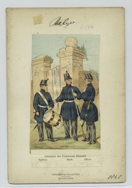 Infanterie des communes (blouses) : Tambour, garde, officier.