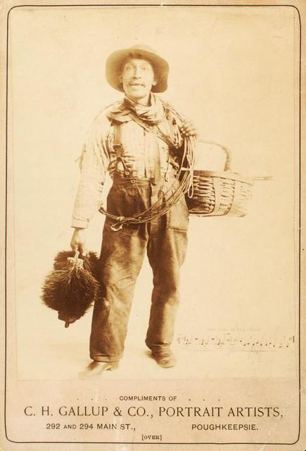 John King, chimney sweep, shown with gear while singing out his call.