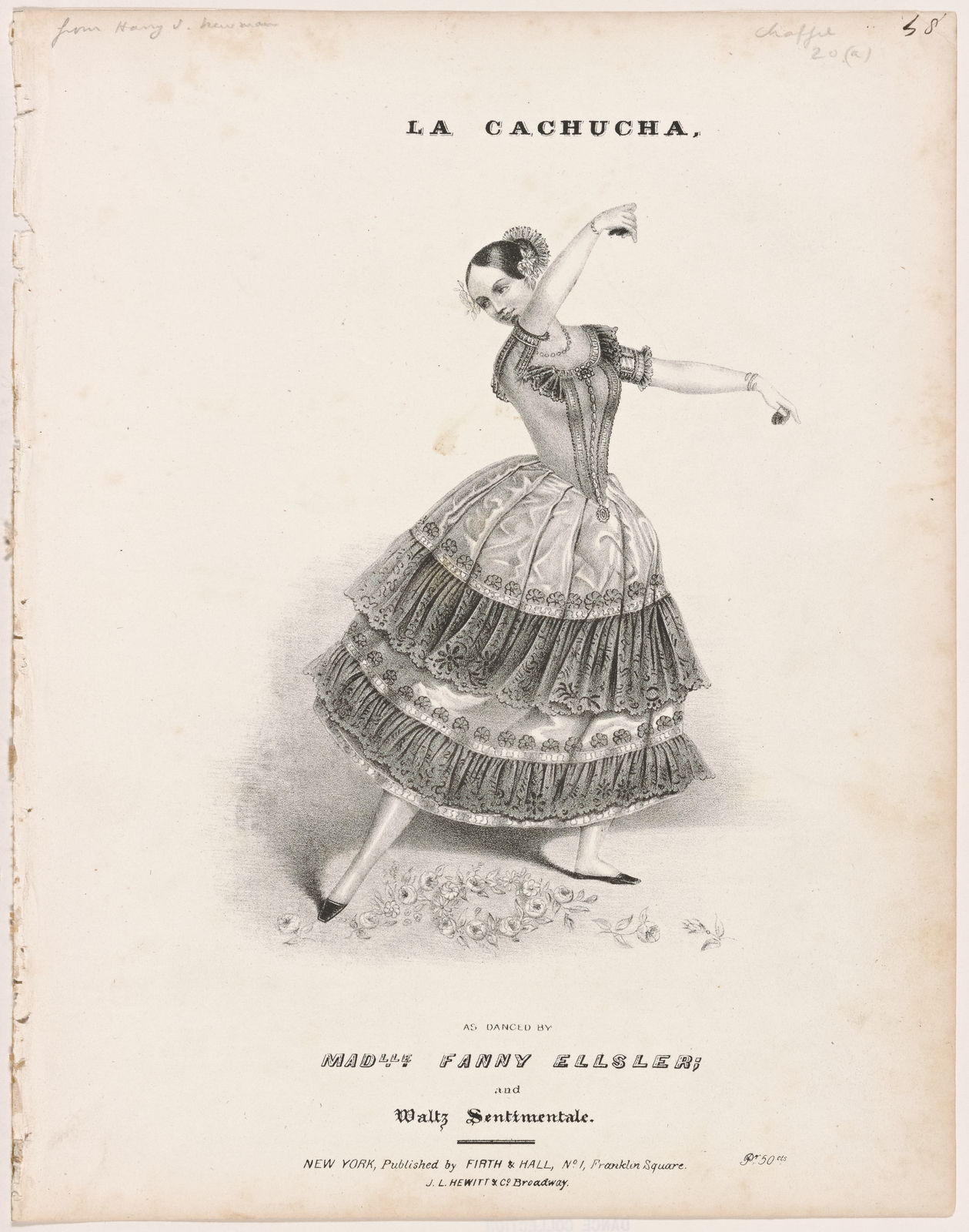 La cachucha, as danced by Madlle Fanny Elssler; and Waltz sentimentale.