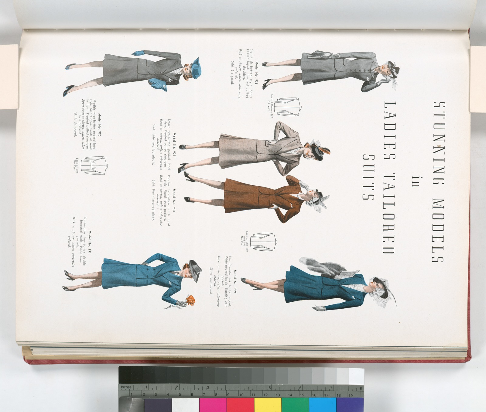 Ladies tailored suits - six button style, short peaked lapels, pleated puffed shoulders, two-button peaked lapel style, two-button notch lapel style, piped lower pockets, link button model, wide peaked lapels, welt pockets, three button peaked lapel style, open pleats at waist in front, two-button double-breasted model.