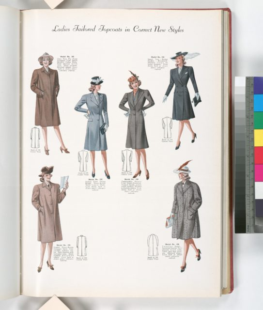Ladies tailored topcoats in correct new styles; Model No. 191. Fly front swagger coat with slash pockets and stitched edges; Model No. 192. Stylish form fitting model; Model No. 193. Fashionable revere front single-breasted; Model No. 194. Two-button double-breasted; Model No. 195. Modish three-button swagger style; Model No. 196. Popular single-breasted raglan.