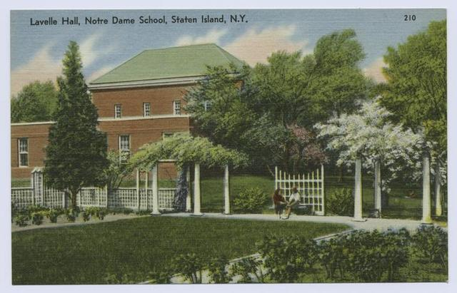 Lavelle Hall, Notre Dame School, Staten Island, N.Y.  [pathway with arbor and students on bench, building in background]