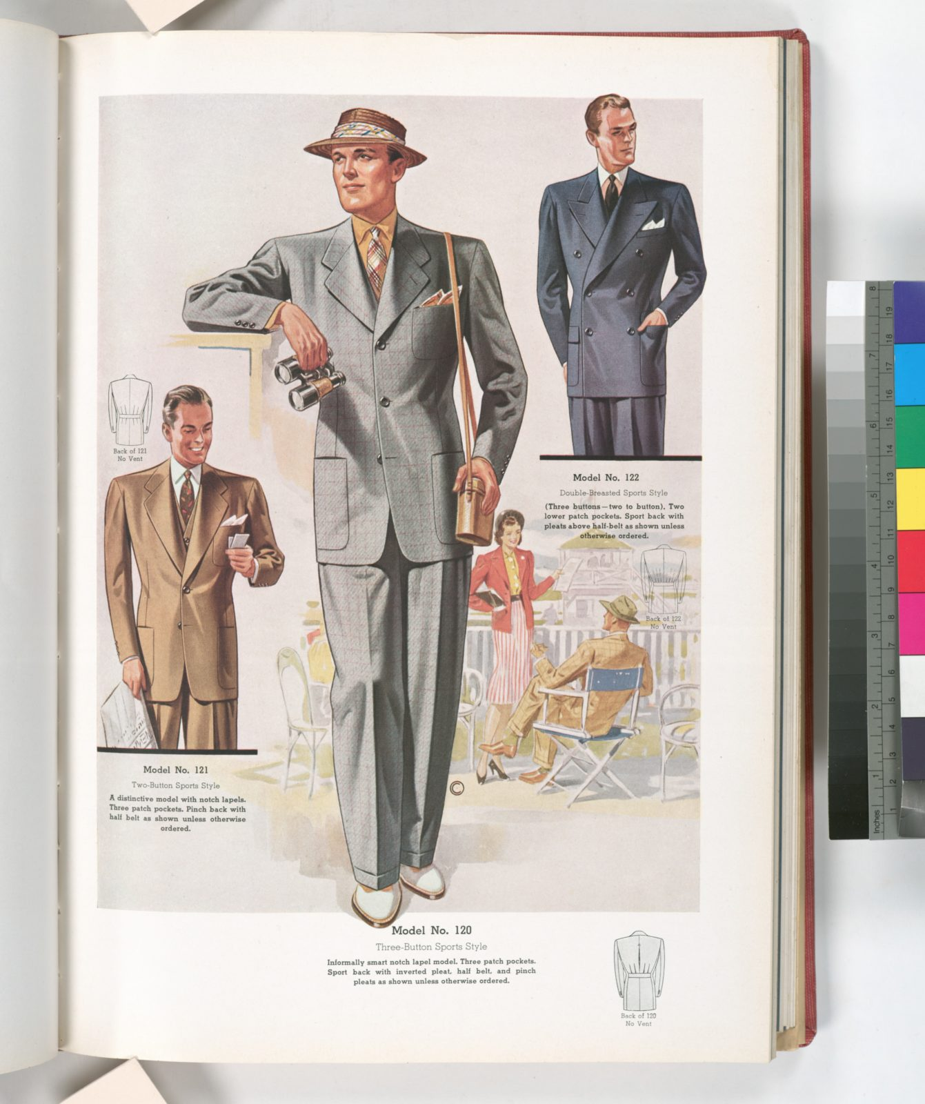 Model No. 120. Three-button sports style - notch lapel model with three patch pockets, sport back with inverted pleat, half belt, and pinch pleats; Model No. 121. Two-button sports style; Model. No. 122. Double-breasted sports style.